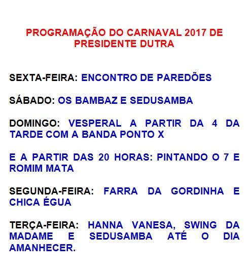 programação do carnaval